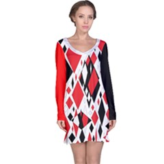 Distorted Diamonds In Black & Red Long Sleeve Nightdress