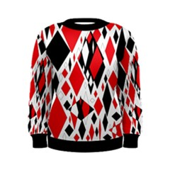 Distorted Diamonds In Black & Red Women s Sweatshirt