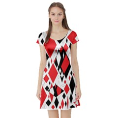 Distorted Diamonds In Black & Red Short Sleeved Skater Dress