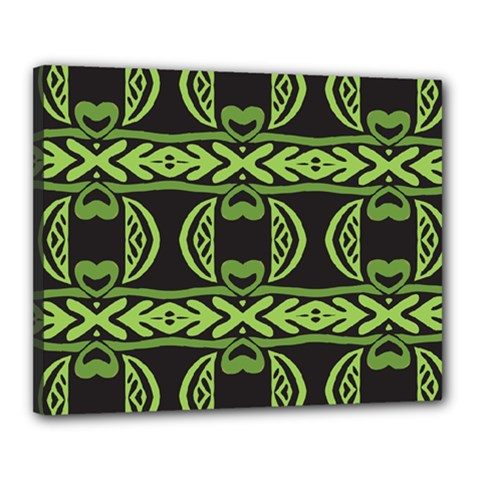 Green Shapes On A Black Background Pattern Canvas 20  X 16  (stretched)