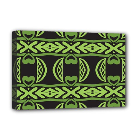 Green Shapes On A Black Background Pattern Deluxe Canvas 18  X 12  (stretched)