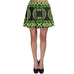 Green shapes on a black background pattern Skater Skirt