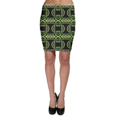 Green shapes on a black background pattern Bodycon Skirt