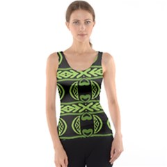 Green shapes on a black background pattern Tank Top
