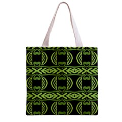 Green Shapes On A Black Background Pattern Grocery Tote Bag