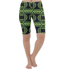 Green Shapes On A Black Background Pattern Cropped Leggings