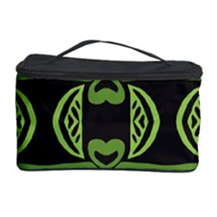 Green shapes on a black background pattern Cosmetic Storage Case