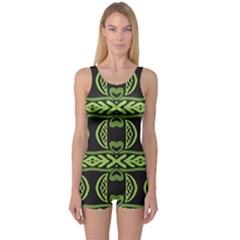 Green shapes on a black background pattern Women s Boyleg Swimsuit