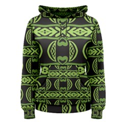Green shapes on a black background pattern Pullover Hoodie