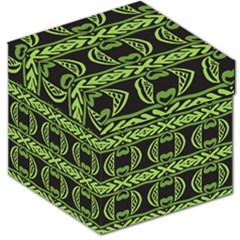 Green Shapes On A Black Background Pattern Storage Stool