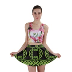 Green Shapes On A Black Background Pattern Mini Skirt