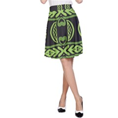 Green shapes on a black background pattern A-line Skirt