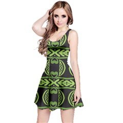 Green shapes on a black background pattern Sleeveless Dress