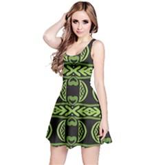 Green Shapes On A Black Background Pattern Sleeveless Dress