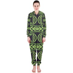 Green Shapes On A Black Background Pattern Hooded Onepiece Jumpsuit