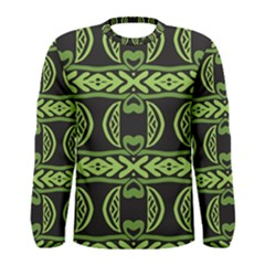 Green shapes on a black background pattern Men Long Sleeve T-shirt