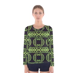 Green shapes on a black background pattern Women Long Sleeve T-shirt