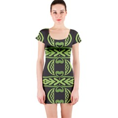 Green shapes on a black background pattern Short sleeve Bodycon dress