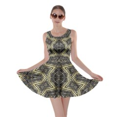 Geometric Tribal Golden Print Skater Dress