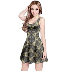Geometric Tribal Golden Print Sleeveless Dress