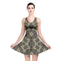 Geometric Tribal Golden Print Reversible Skater Dress
