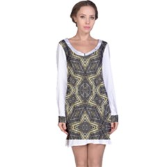 Geometric Tribal Golden Print Long Sleeve Nightdress