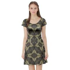Geometric Tribal Golden Print Short Sleeved Skater Dress