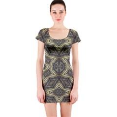 Geometric Tribal Golden Print Short Sleeve Bodycon Dress