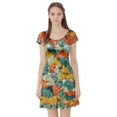 Paint Strokes In Retro Colors Short Sleeved Skater Dress