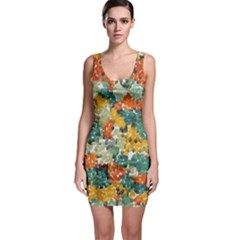 Paint strokes in retro colors Bodycon Dress