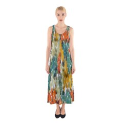 Paint strokes in retro colors Full Print Maxi Dress