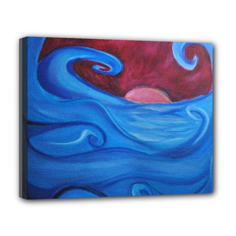 Blown Ocean Waves Deluxe Canvas 20  X 16  (framed)