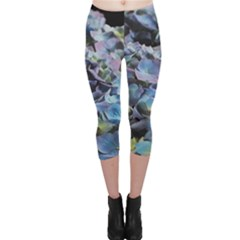 Blue and Purple Hydrangea Group Capri Leggings