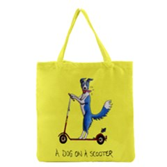 A Dog On A Scooter Grocery Tote Bag
