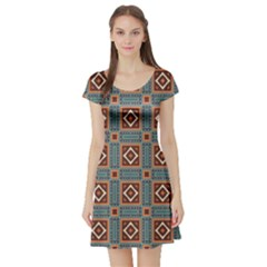 Squares rectangles and other shapes pattern Short Sleeved Skater Dress