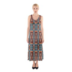 Squares Rectangles And Other Shapes Pattern Full Print Maxi Dress