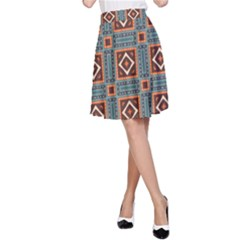 Squares rectangles and other shapes pattern A-line Skirt