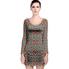Squares rectangles and other shapes pattern Long Sleeve Bodycon Dress