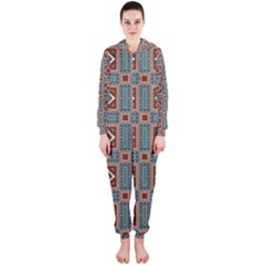 Squares rectangles and other shapes pattern Hooded OnePiece Jumpsuit
