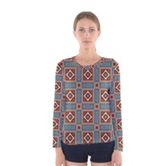 Squares rectangles and other shapes pattern Women Long Sleeve T-shirt