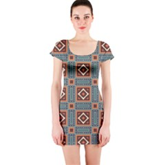 Squares Rectangles And Other Shapes Pattern Short Sleeve Bodycon Dress