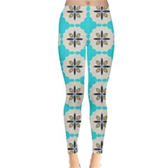 Floral pattern on a blue background Leggings