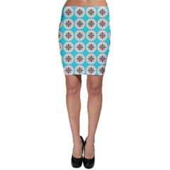 Floral pattern on a blue background Bodycon Skirt