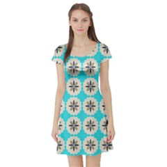Floral Pattern On A Blue Background Short Sleeved Skater Dress