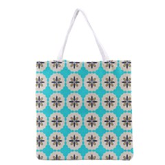 Floral pattern on a blue background Grocery Tote Bag