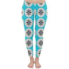 Floral Pattern On A Blue Background Winter Leggings