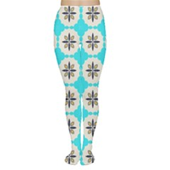 Floral pattern on a blue background Tights