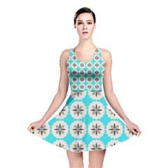 Floral Pattern On A Blue Background Reversible Skater Dress
