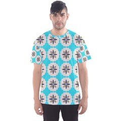 Floral pattern on a blue background Men s Sport Mesh Tee