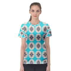 Floral pattern on a blue background Women s Sport Mesh Tee